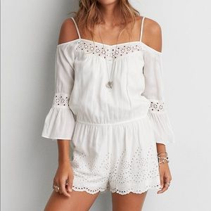 Women's Cold Shoulder White Eyelet Romper